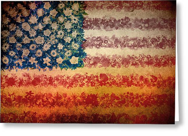4th July Digital Greeting Cards - Usa flag floral 4 Greeting Card by MB Art factory