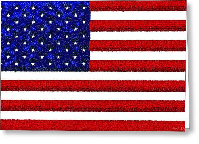 Usa Flag  - Gemstone Painting Style -  - Da Greeting Card by Leonardo Digenio