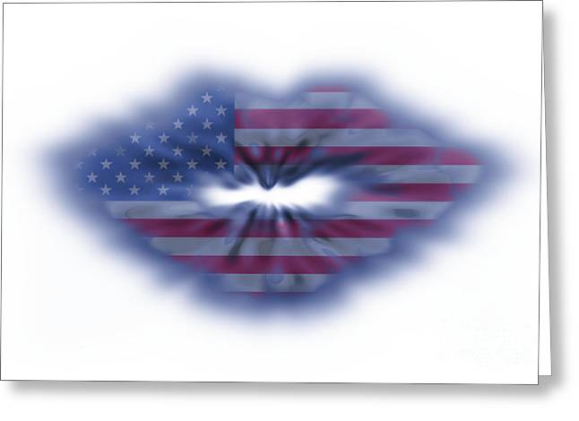 Pout Greeting Cards - USA flag lips Greeting Card by Simon Bratt Photography LRPS
