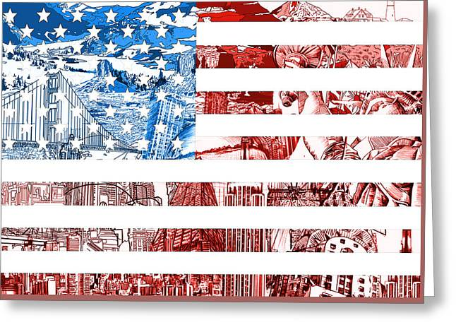 4th July Digital Greeting Cards - USA flag Greeting Card by MB Art factory