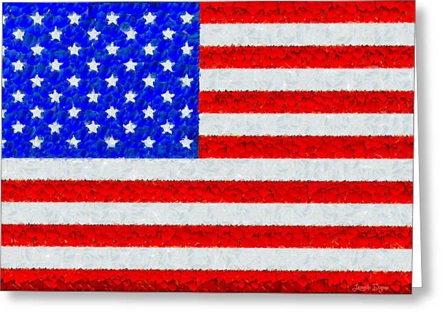 Usa Flag  - Palette Knife Style -  - Pa Greeting Card by Leonardo Digenio