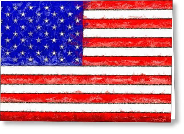 Usa Flag  - Pencil Style -  - Pa Greeting Card by Leonardo Digenio