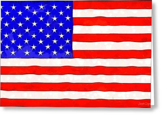 Usa Flag  - Van Gogh Style -  - Da Greeting Card by Leonardo Digenio