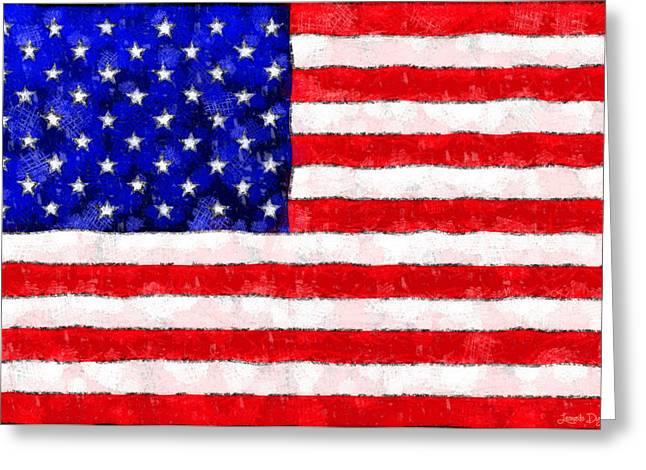 Usa Flag  - Wax Style -  - Da Greeting Card by Leonardo Digenio