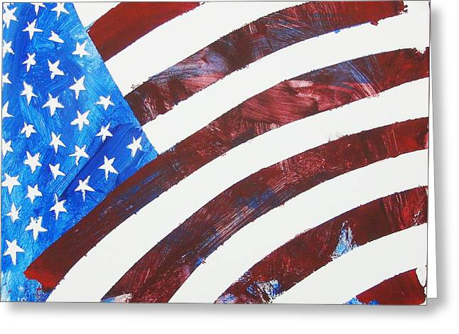 4th July Paintings Greeting Cards - USA Forever Greeting Card by Painted by a Horse