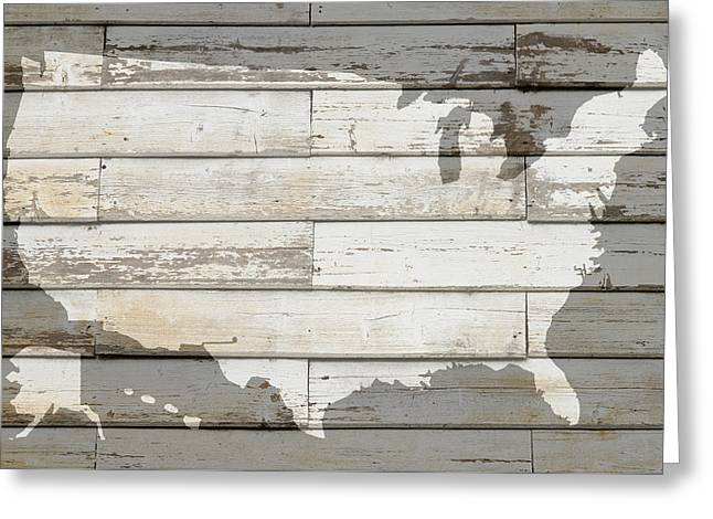 White Barns Greeting Cards - USA Map of America Outline on White Barn Wood Planks Greeting Card by Design Turnpike