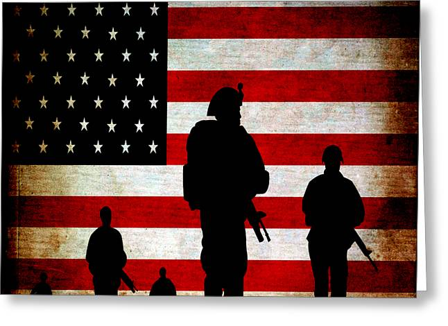 Usa Military Greeting Card by Angelina Vick