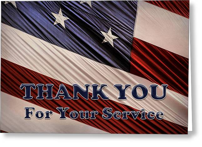 Usa Military Veterans Patriotic Flag Thank You Greeting Card by Shelley Neff