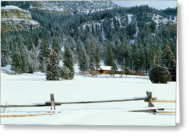 Wintry Photographs Greeting Cards - Usa, Montana, Fence, Cabin, Snow, Winter Greeting Card by Panoramic Images