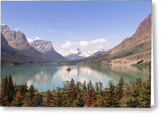 Placid Blue Greeting Cards - Usa, Montana, Saint Mary Lake Greeting Card by Panoramic Images