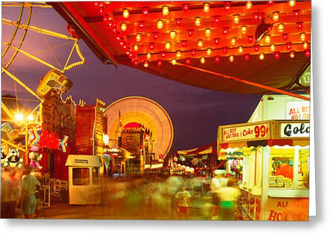Amusement Ride Greeting Cards - Usa, New York, Hamburg, Erie County Fair Greeting Card by Panoramic Images