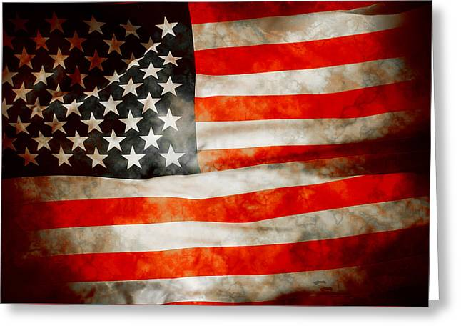 4th July Digital Greeting Cards - USA Old Glory Patriot Flag Greeting Card by Phill Petrovic