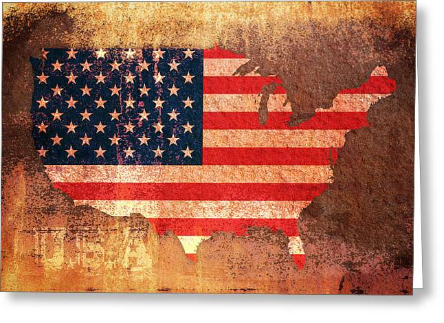 Distressed Greeting Cards - USA Star and Stripes Map Greeting Card by Michael Tompsett