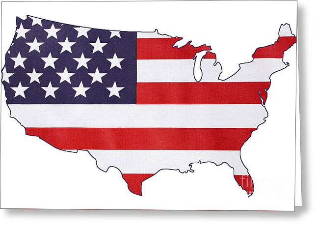 Independance Greeting Cards - USA Stars and Stripes flag within outline of USA map. Greeting Card by Milleflore Images
