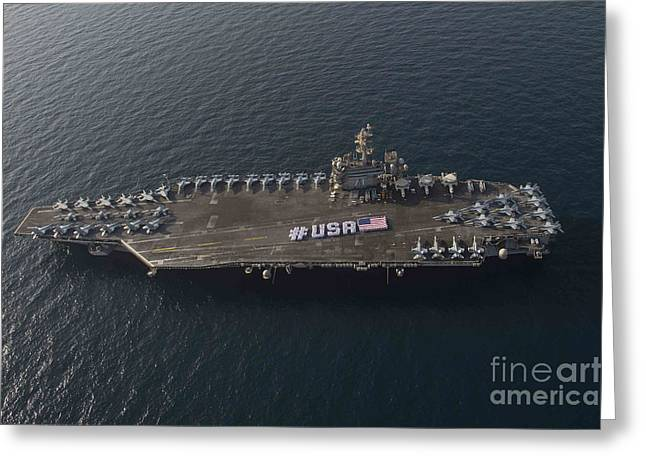 4th July Greeting Cards - USA with the American flag on the flight deck Greeting Card by Celestial Images