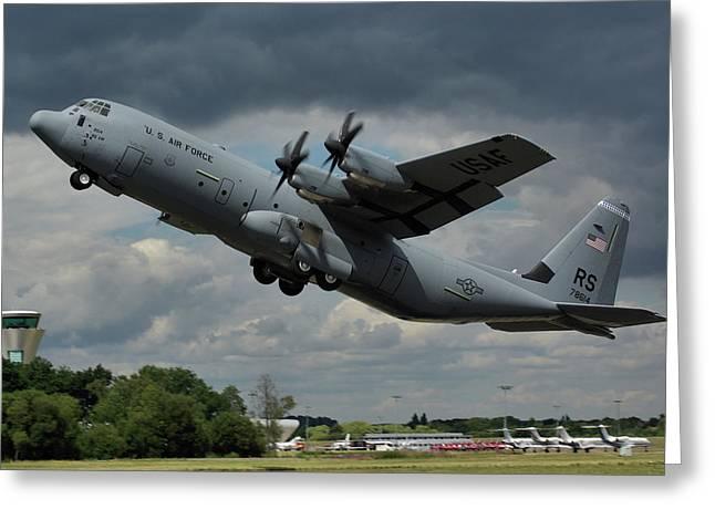 USAF Lockheed-Martin C-130J-30 Hercules  Greeting Card by Tim Beach