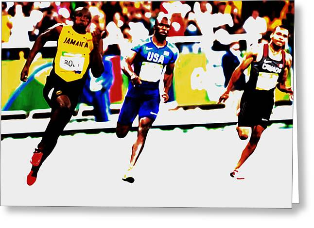 Usain Bolt 2016 Rio Olympics Greeting Card by Brian Reaves