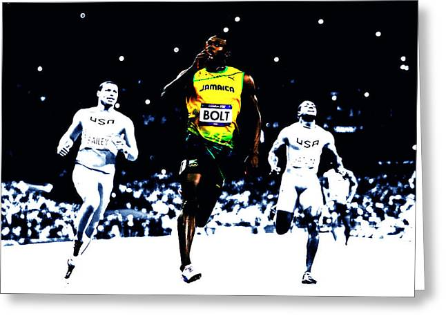 Usain Bolt Once Again Greeting Card by Brian Reaves
