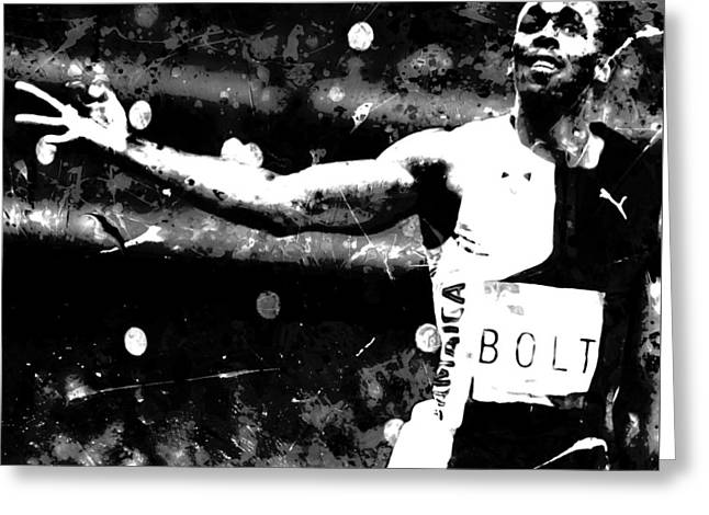 Usain Bolt Three Gold Medals S1 Greeting Card by Brian Reaves