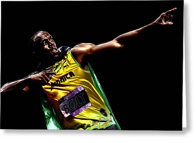 Sprinter Digital Greeting Cards - Usain Bolt Victory Greeting Card by Brian Reaves