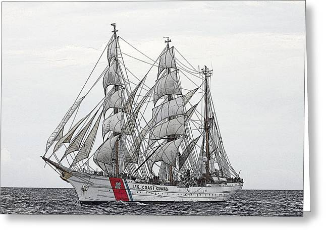 Uscg Barque Eagle Greeting Card by Max Mudie