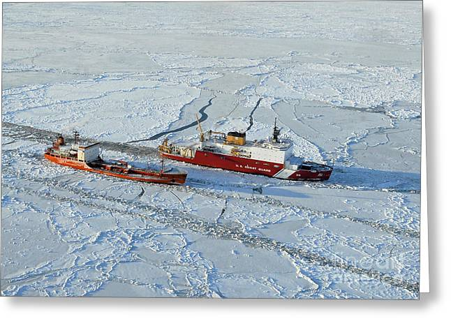 Us Coast Guard Greeting Cards - Uscg Healy Breaks Ice Greeting Card by Stocktrek Images