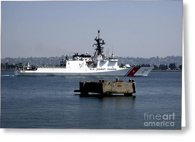 Us Coast Guard Greeting Cards - Uscgc Bertholf Underway In San Diego Greeting Card by Michael Wood