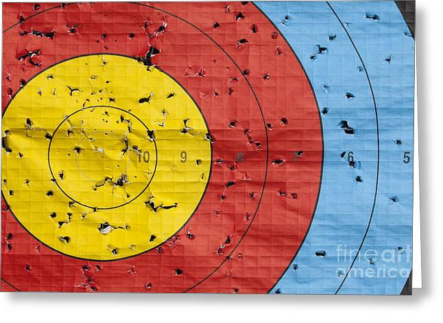 Archery Greeting Cards - Used archery target close up Greeting Card by Simon Bratt Photography LRPS