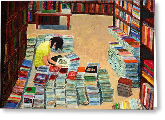 Stacks Of Books Greeting Cards - Used Books Greeting Card by David Carson Taylor