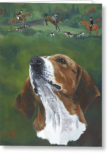 Usher The Hounds Greeting Card by Gilda Goodwin