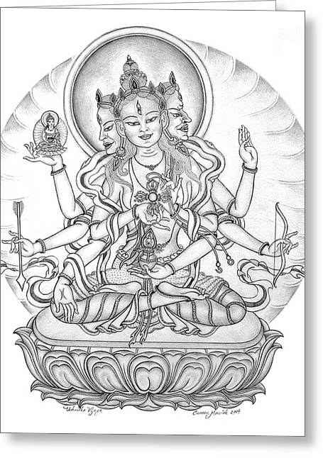 Bodhisatva Greeting Cards - Ushnisha Vijaya Greeting Card by Carmen Mensink