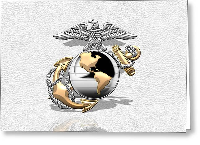 Warrant Greeting Cards - USMC Eagle Globe and Anchor - CO and Warrant Officer EGA over White Leather Greeting Card by Serge Averbukh
