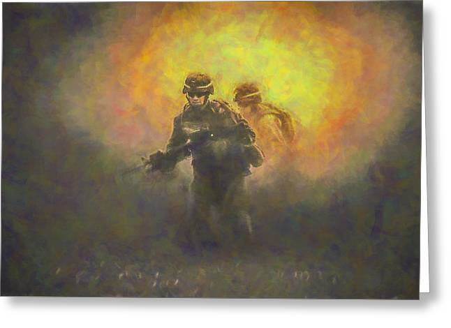 Usmc Greeting Cards - USMC One Yellow Greeting Card by David Haskett