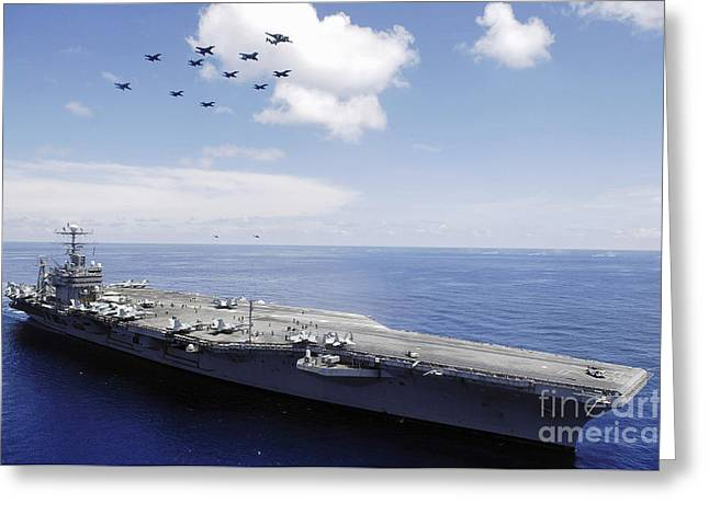 Aircraft Carrier Greeting Cards - Uss Abraham Lincoln And Aircraft Greeting Card by Stocktrek Images