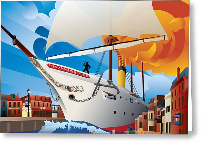 Ego Digital Art Greeting Cards - USS Annapolis in Ego Alley Greeting Card by Joe Barsin