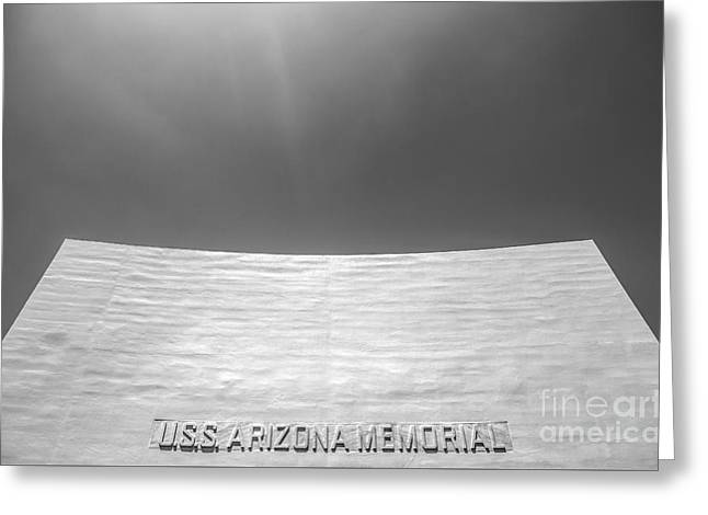 Historic Site Greeting Cards - USS Arizona Memorial in Black and White Greeting Card by Diane Diederich