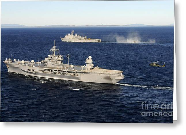Germantown Greeting Cards - Uss Blue Ridge Conducts Flight Greeting Card by Stocktrek Images