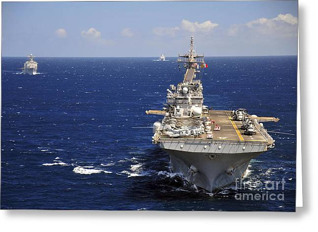 Transit Greeting Cards - Uss Boxer Leads A Convoy Of Ships Greeting Card by Stocktrek Images