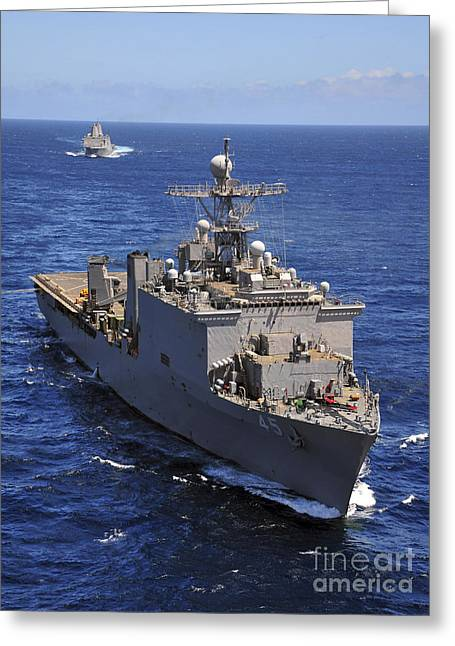 Deployment Greeting Cards - Uss Comstock Leads A Convoy Of Ships Greeting Card by Stocktrek Images