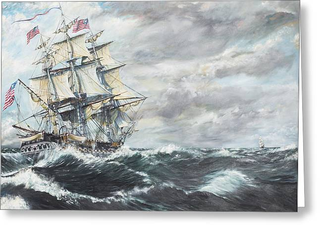 """sailing Ship"" Greeting Cards - USS Constitution heads for HM Frigate Guerriere Greeting Card by Vincent Alexander Booth"