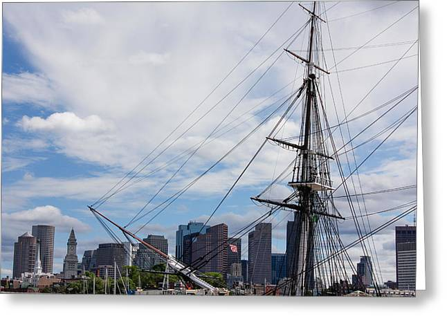 Masts Greeting Cards - USS Constitution in Boston Greeting Card by Brandon Headley