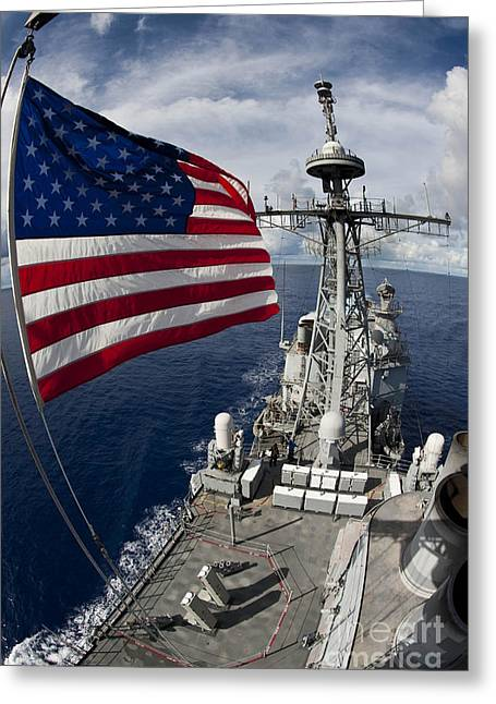 Underway Greeting Cards - Uss Cowpens As Seen From The Top Greeting Card by Stocktrek Images