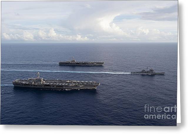 Valiant Greeting Cards - Uss George Washington, Uss John C Greeting Card by Stocktrek Images