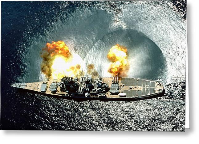 Uss Iowa Firing A Full Broadside Greeting Card by War Is Hell Store