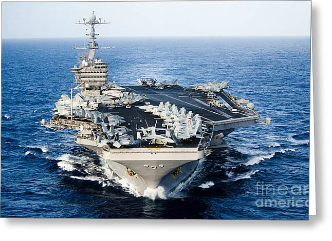 Nimitz-class Greeting Cards - Uss John C. Stennis Transits Greeting Card by Stocktrek Images