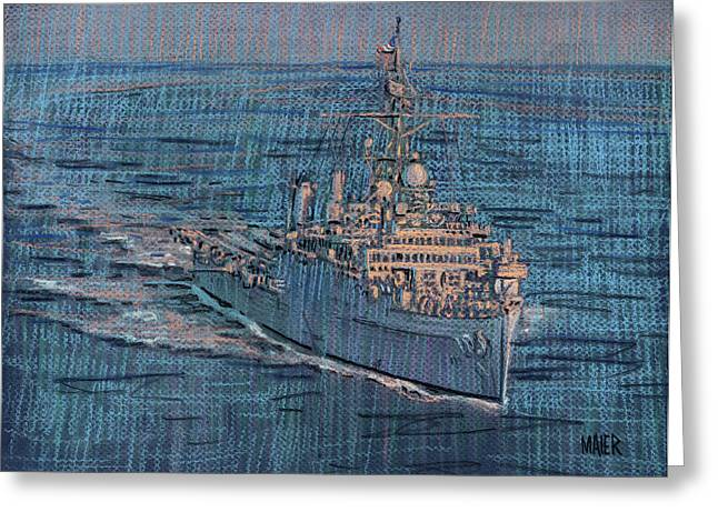 Dock Pastels Greeting Cards - USS Juneau LPD 10 Greeting Card by Donald Maier