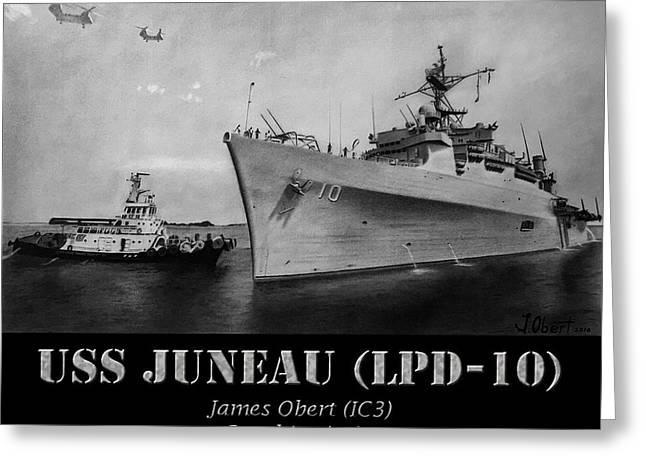 Uss Juneau Lpd 10 Greeting Card by James Obert