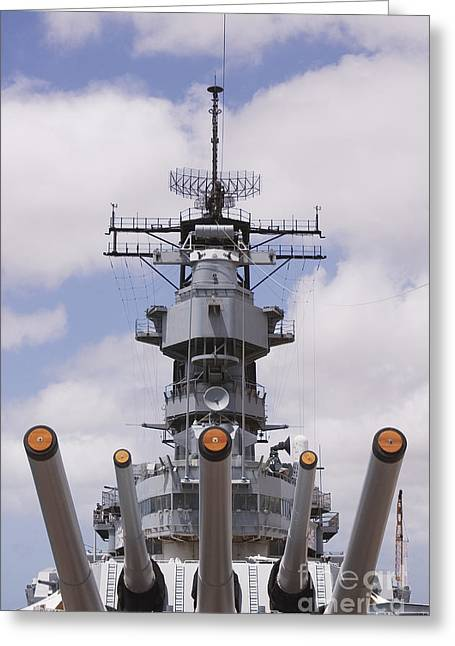 Afternoon Battle Greeting Cards - USS Missouri Greeting Card by Greg Vaughn - Printscapes