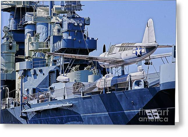Uss North Carolina Greeting Cards - USS North Carolina Observation Scout aircraft Greeting Card by JW Hanley