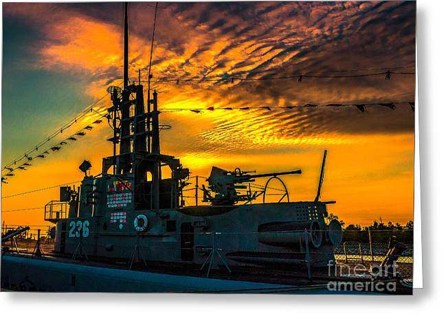 Historic Ship Greeting Cards - U.S.S. Silversides Sunset Greeting Card by Nick Zelinsky